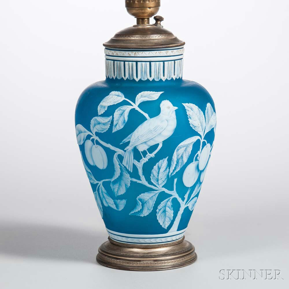 Blue Cameo Glass Vase
