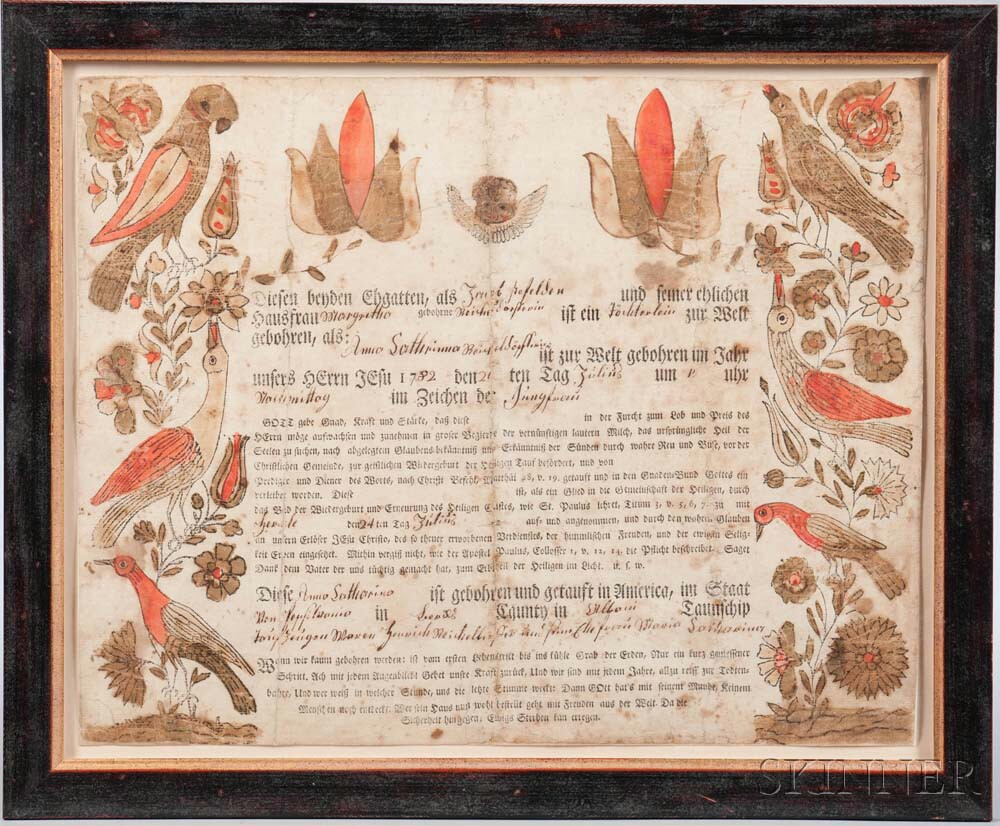 Printed and Watercolor-decorated Birth Certificate Fraktur