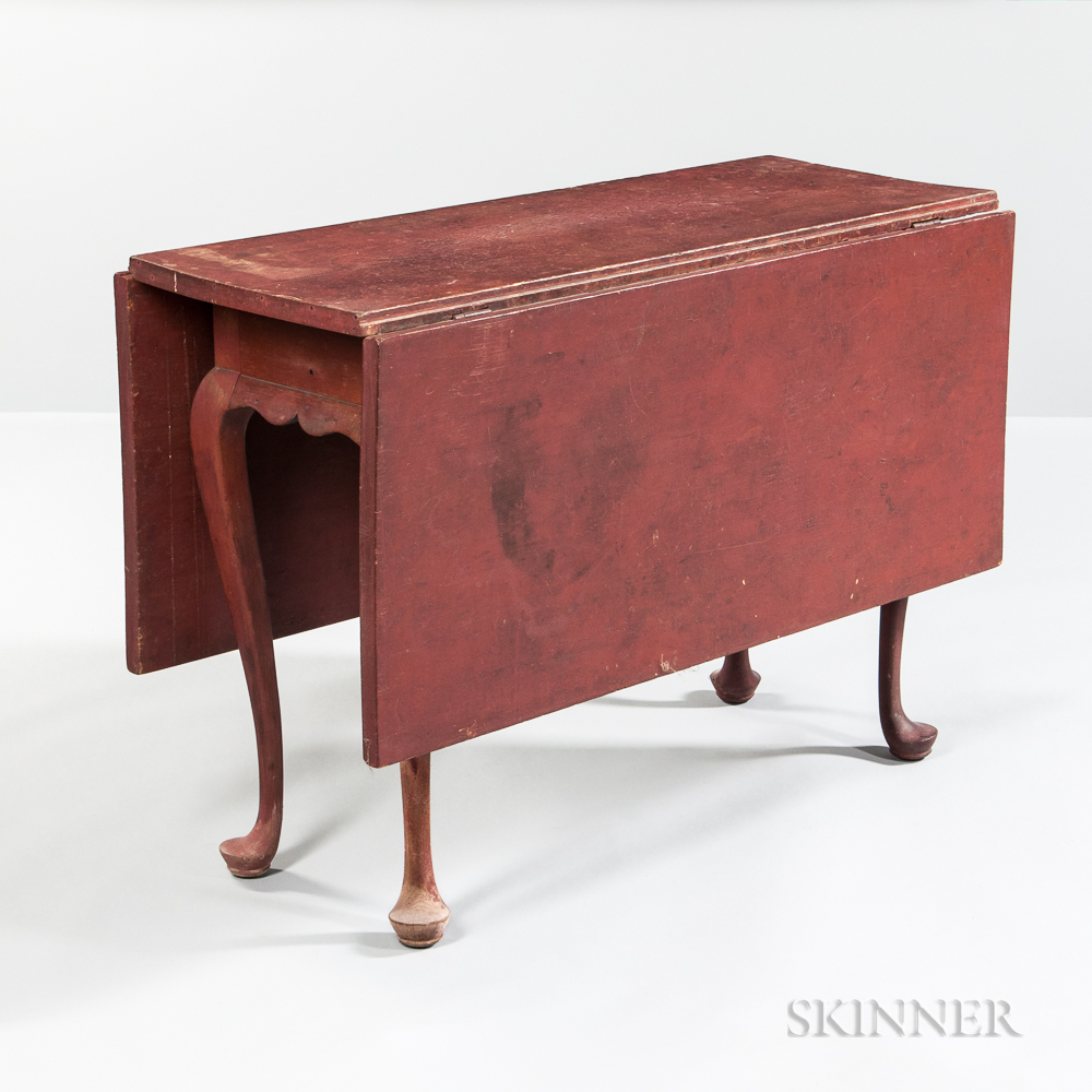Red-painted Queen Anne Drop-leaf Table