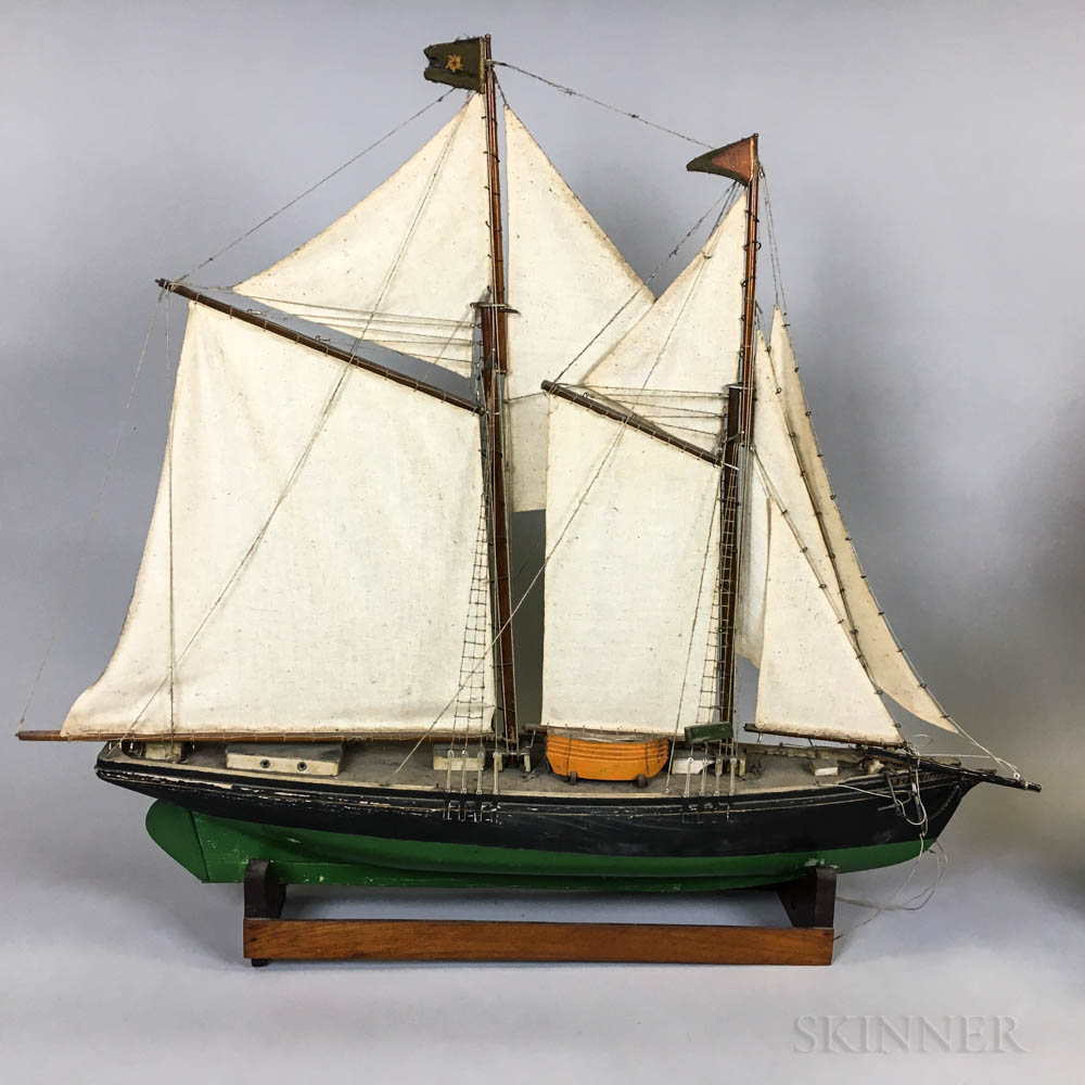 Two Carved and Painted Wood Ship Models