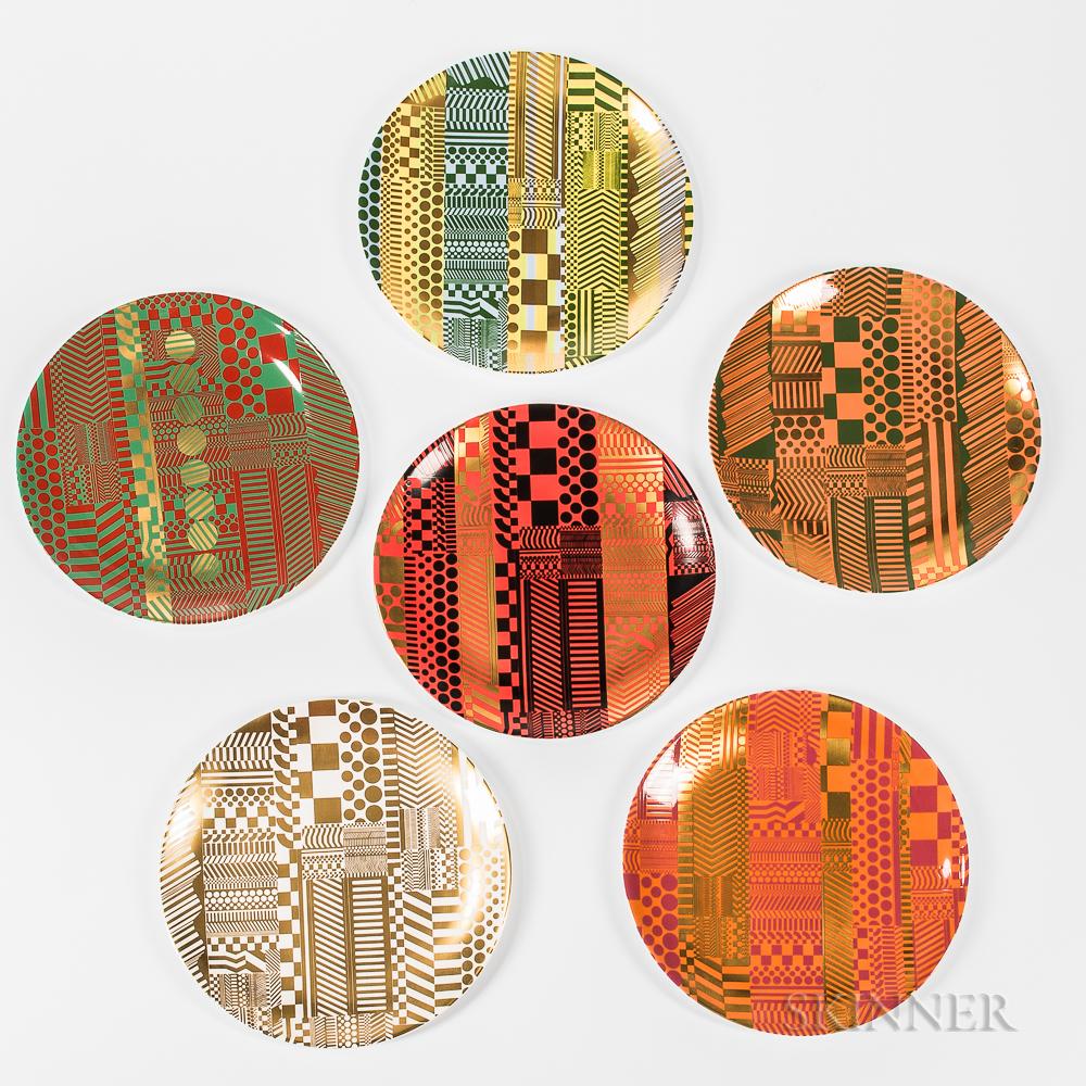 Set of Six Wedgwood Eduardo Paolozzi Design Bone China Plates
