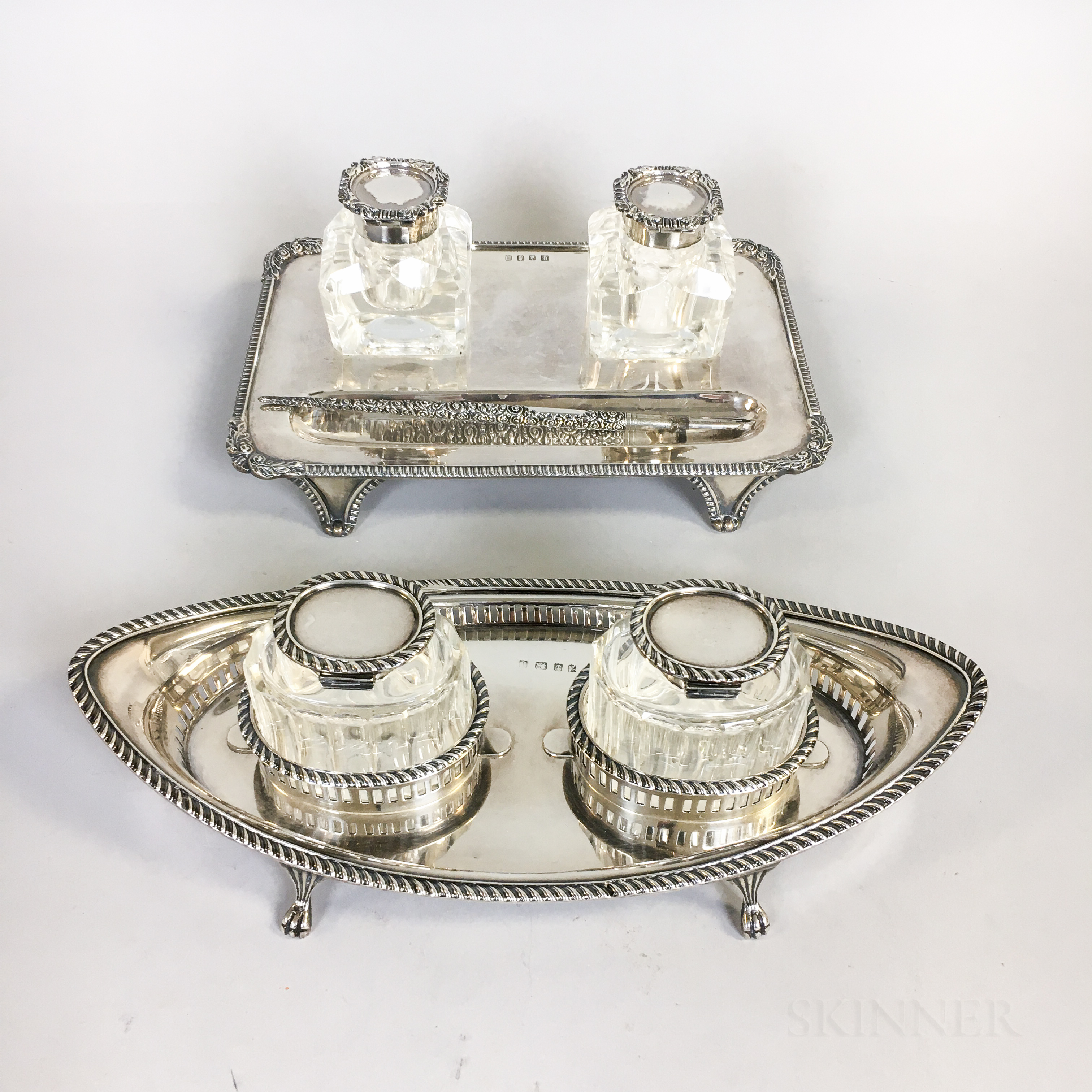 Two British Sterling Silver Ink Stands