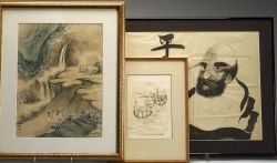 Six Paintings and Prints and One Hanging Scroll