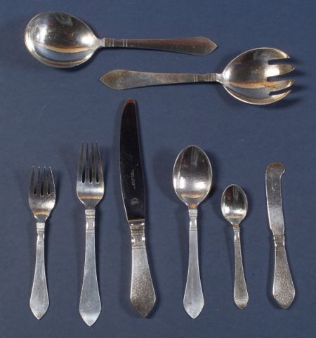 "Georg Jensen Sterling ""Continental/Antik"" Flatware Service for Eight"