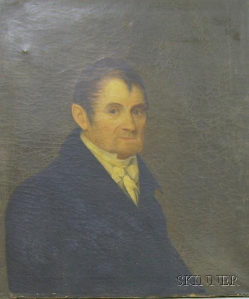 19th Century American School Oil on Canvas Portrait of a Gentleman