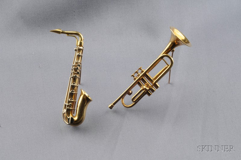 Two 18kt Gold Musical Instrument Brooches