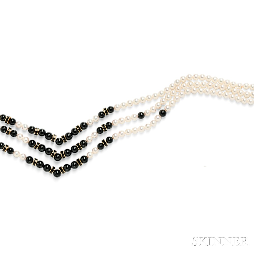 14kt Gold, Cultured Pearl, and Enamel Necklace, Mikimoto