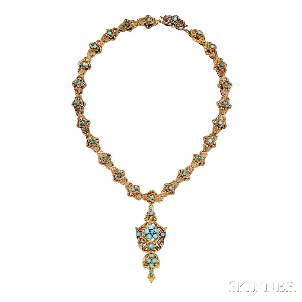 Early Victorian Gold and Turquoise Demi-parure