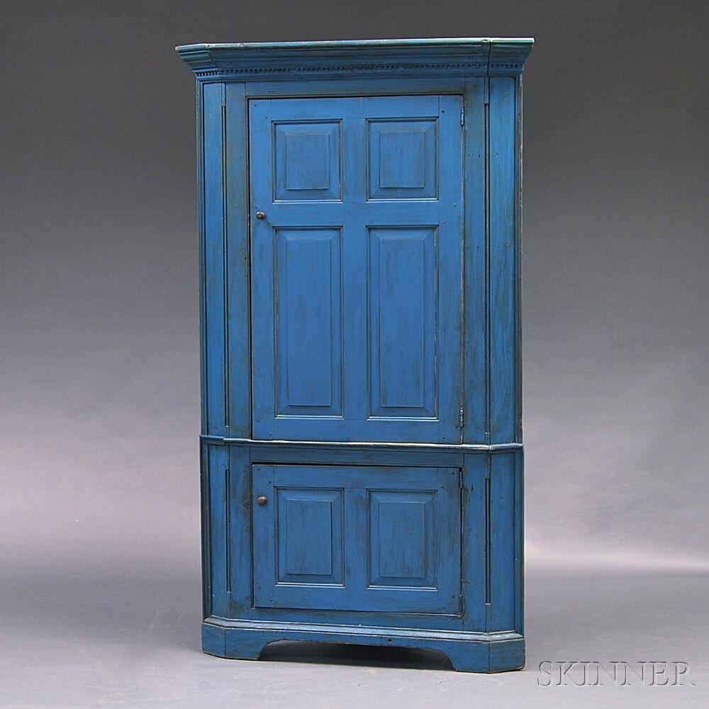 Blue-painted Corner Cupboard