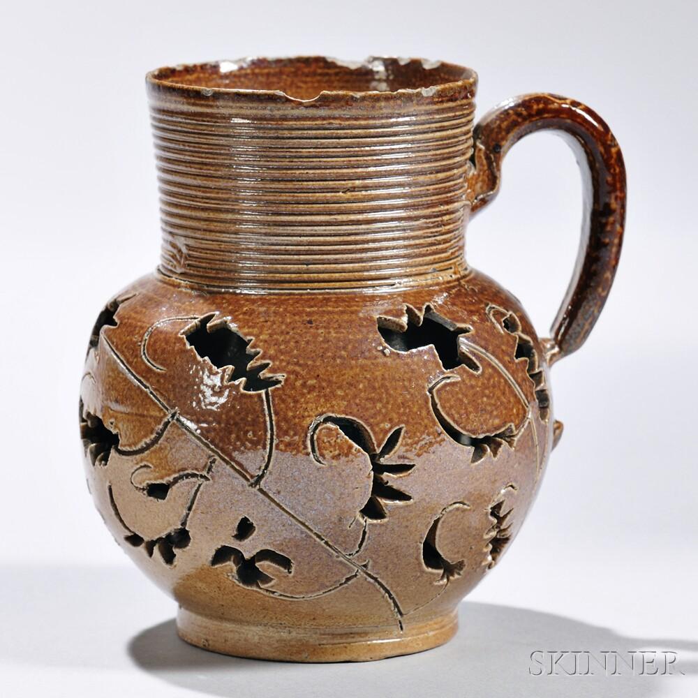 Brown Salt-glazed Stoneware Double-wall Jug