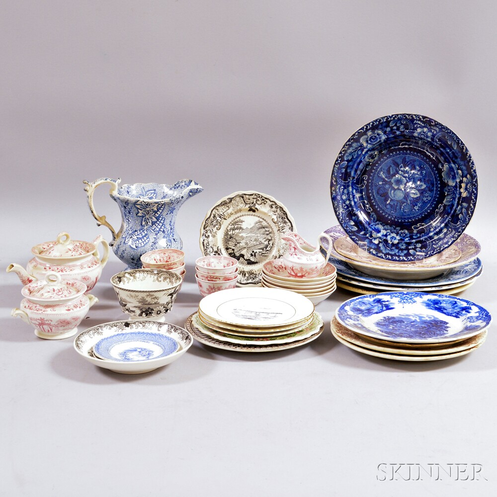 Group of Transfer-decorated Ceramic Tableware