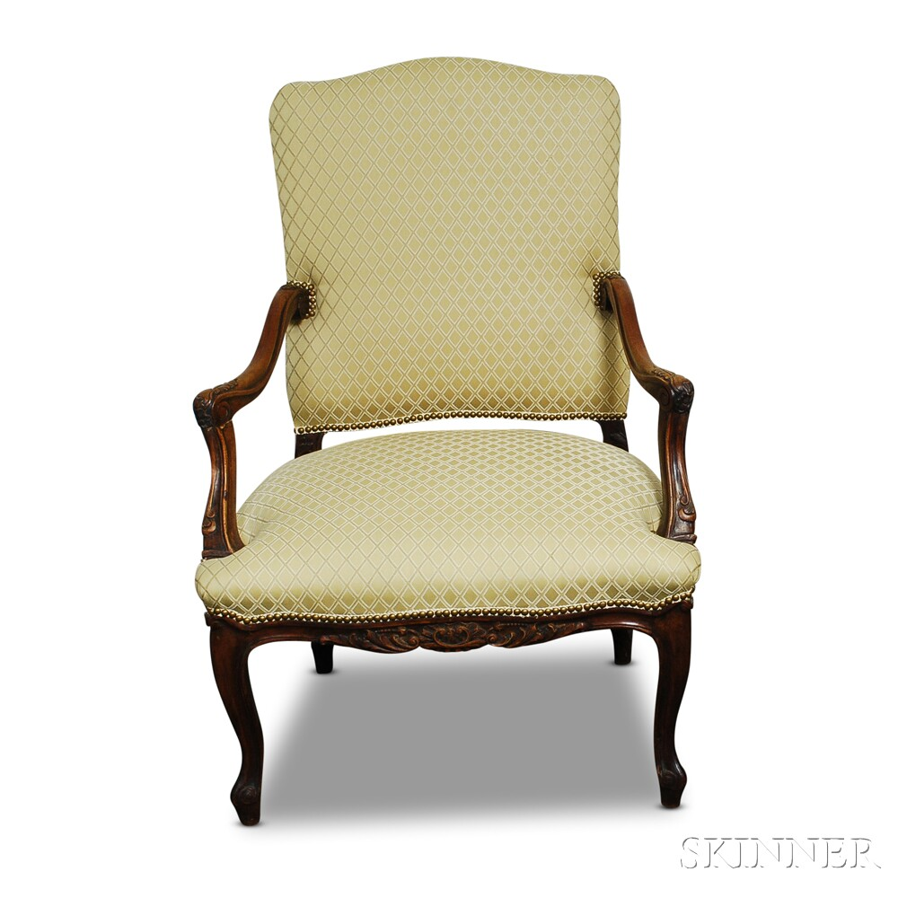 Louis XIV-style Carved and Upholstered Walnut Fauteuil
