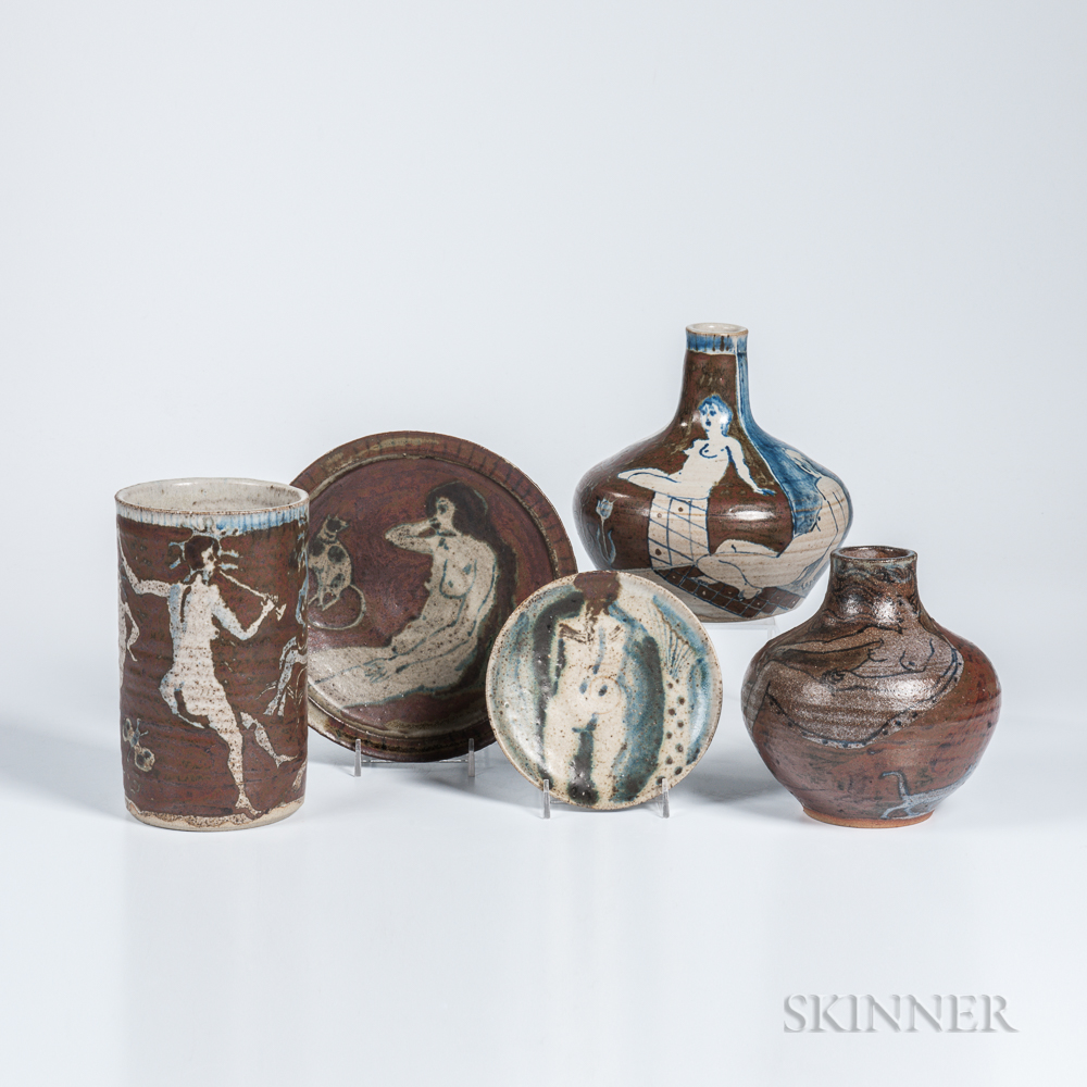 Eric James Mellon (British, 1925-2014) Five Polychrome Ash-glazed Stoneware Items