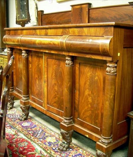 Empire Carved Mahogany and Mahogany Veneer Sideboard.
