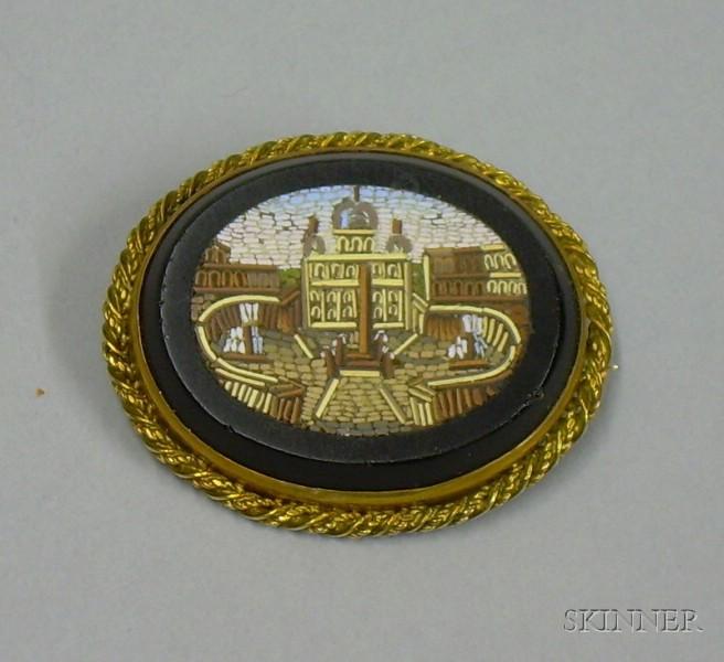 Italian 14kt Gold Mounted Micro Mosaic Brooch