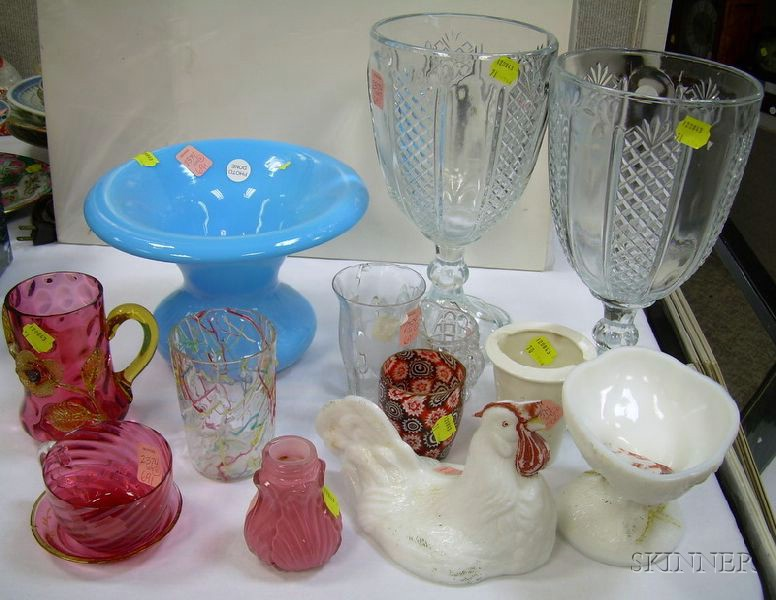 Eleven Assorted Glass Tableware and Table Items