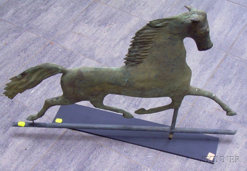 "Molded Sheet Copper ""Blackhawk"" Horse Weather Vane on Stand"