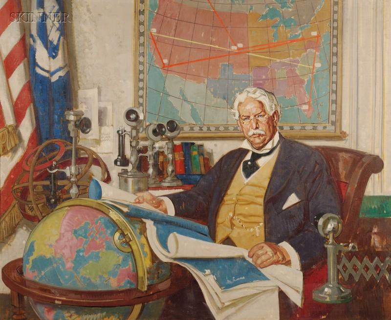 Dean Cornwell  (American, 1892-1960)      Portrait Study of Theodore Newton Vail