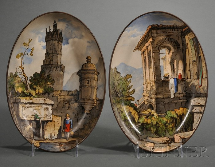 Pair of Wedgwood Italianate Hand-painted Oval Queen's Ware Dishes