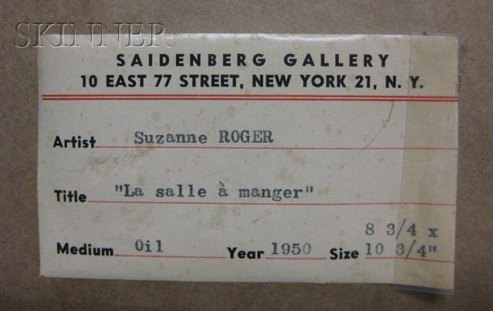 Suzanne Roger French 1899 1986 La Salle A Manger Sale Number