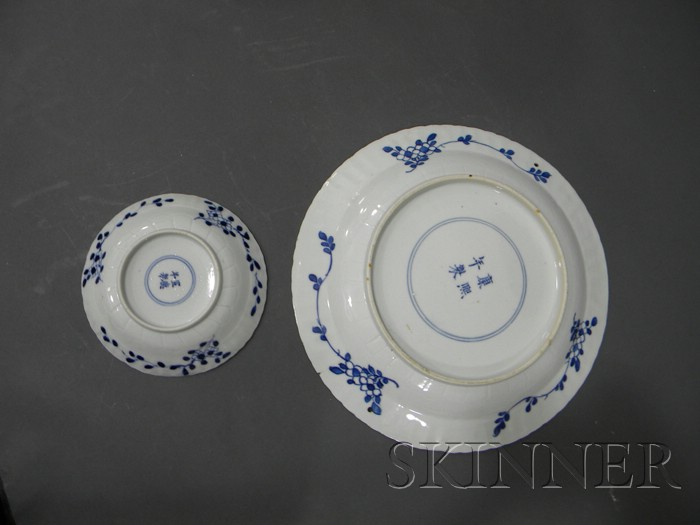 Lot of Twelve Blue and White Ware Items