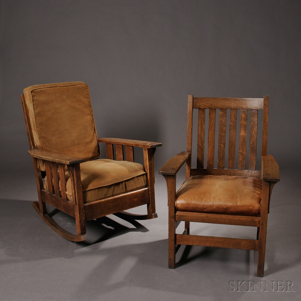 Ordinaire L. U0026 J.G. Stickley Armchair And Oak Craft Rocker ...