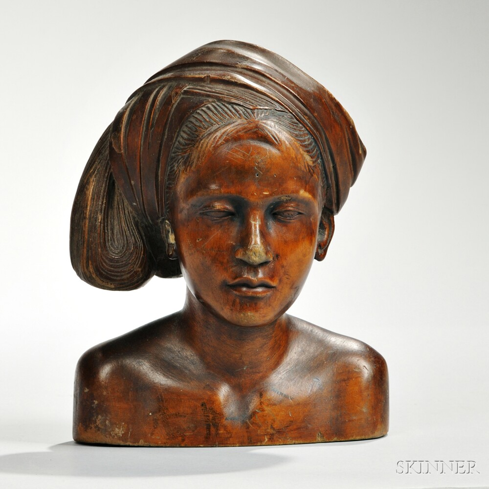 Carved Wood Bust of a Woman