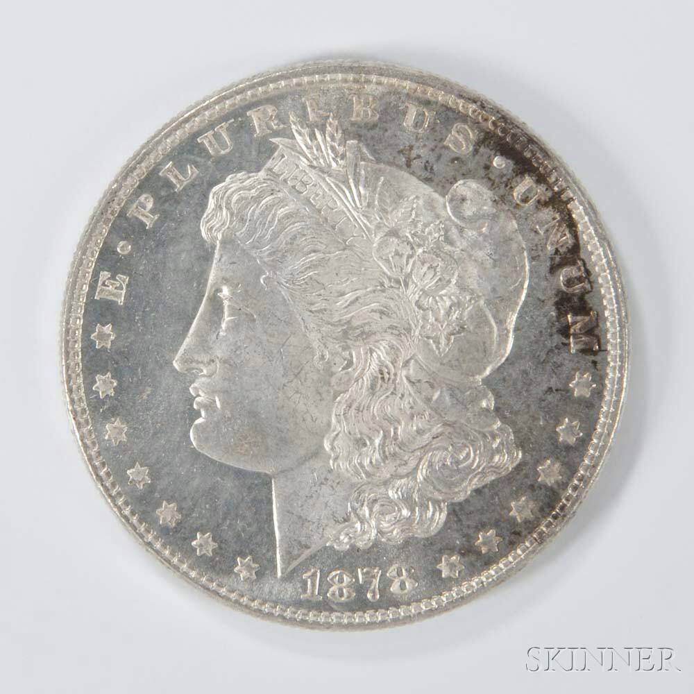 1878 7/8 Tailfeather Morgan Dollar.     Estimate $50-100