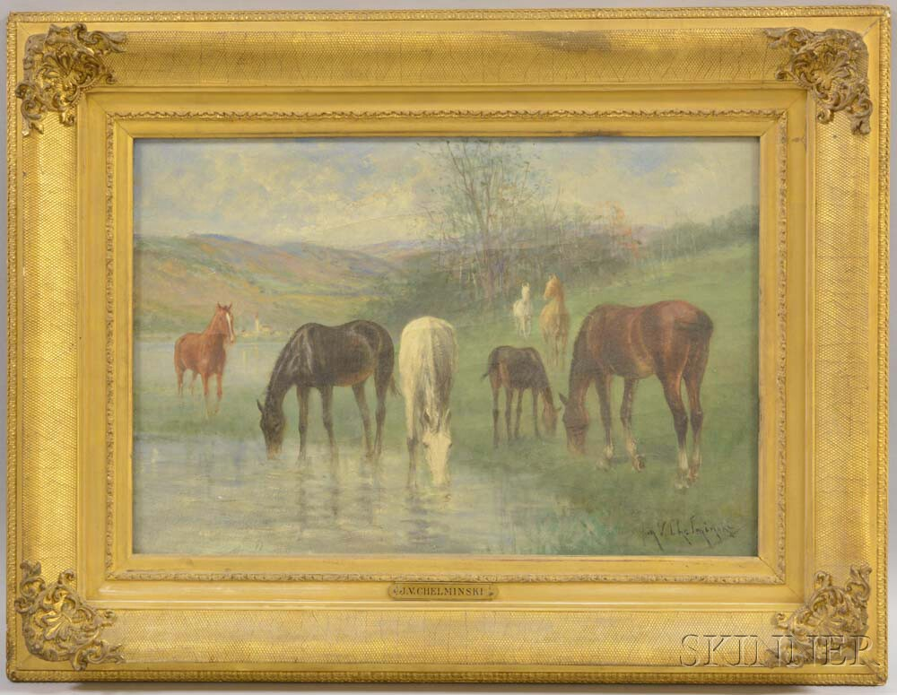 Attributed to Jan Van Chelminski (Polish, 1851-1925)       Landscape with Horses Watering.