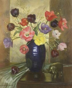 Marguerite Stuber Pearson (American, 1898-1978)  Still Life with Tulips and an Elephant Figurine