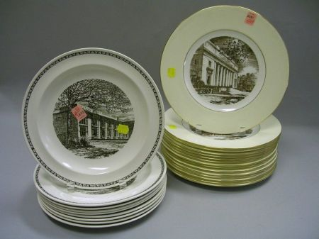 Set of Fifteen Wedgwood Gilt and Sepia MIT Transfer Decorated Porcelain Dinner Plates and a Set of Nine Wedgwood Black and White MIT Tr