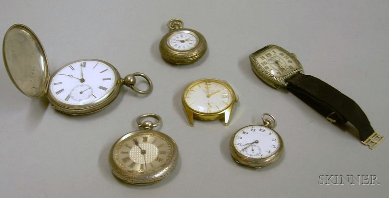 Four Silver Open-face and Hunter Case Pocket Watches and Two Wristwatches.