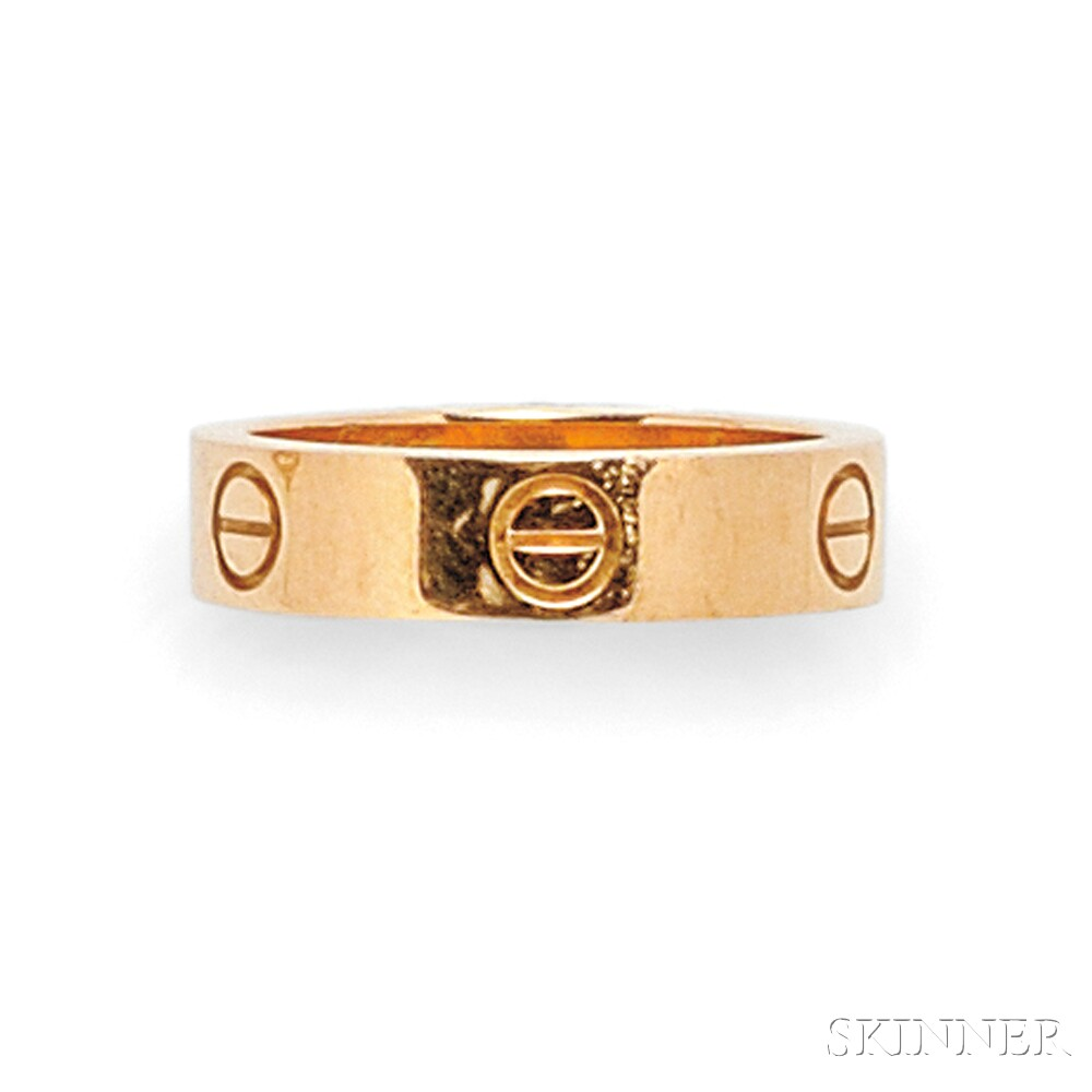 """18kt Rose Gold and Pink Sapphire """"Love"""" Ring, Cartier"""