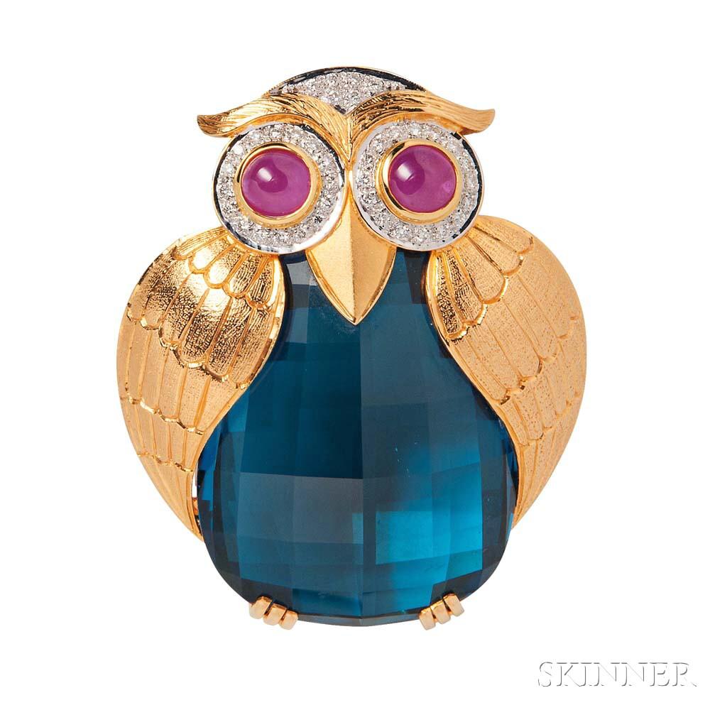 18kt Gold Gem-set Owl Brooch