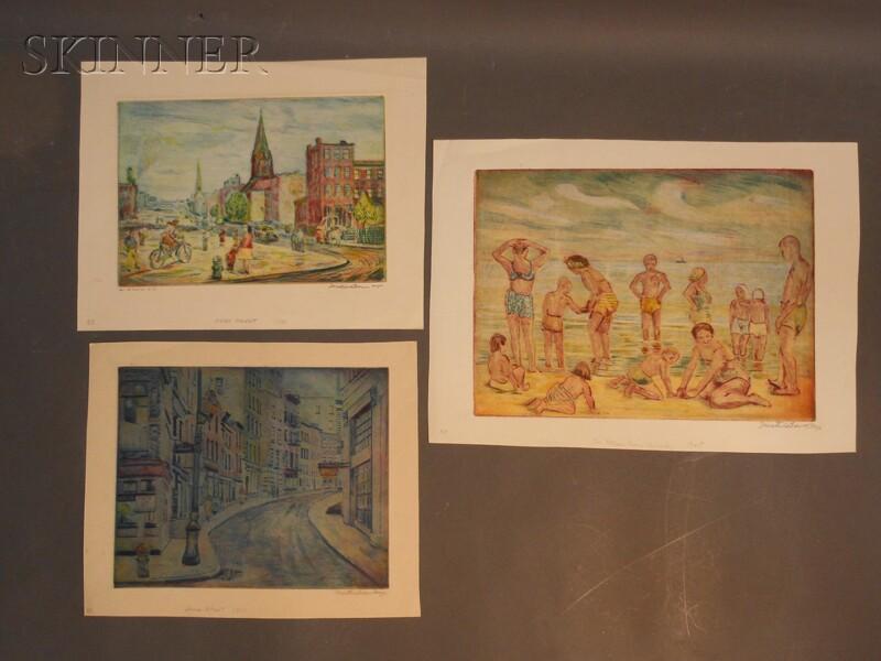 Mortimer Borne (American, 1902-1987)      Three New York Views: Stone Street