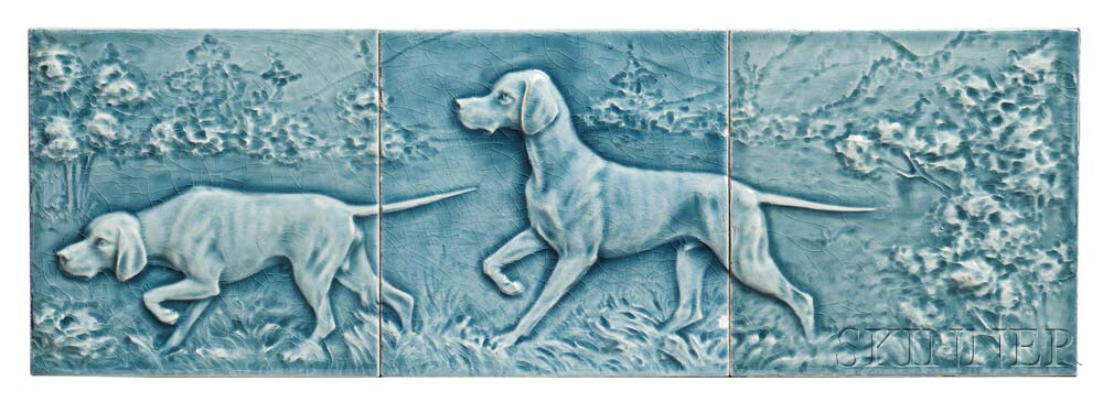 Tripart Pottery Tile Hunting Dog Scene