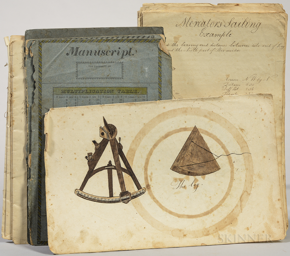 Navigational and Mathematical Note- and Sketchbook, Newbury, Massachusetts, c. 1830.
