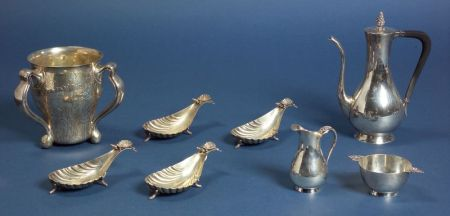 Eight Tiffany & Co. Figural Sterling Aesthetic Movement Nut Cups