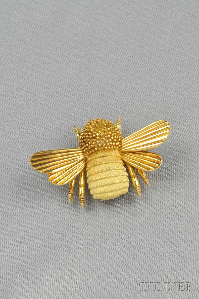 18kt Gold Bee Brooch, Hermes