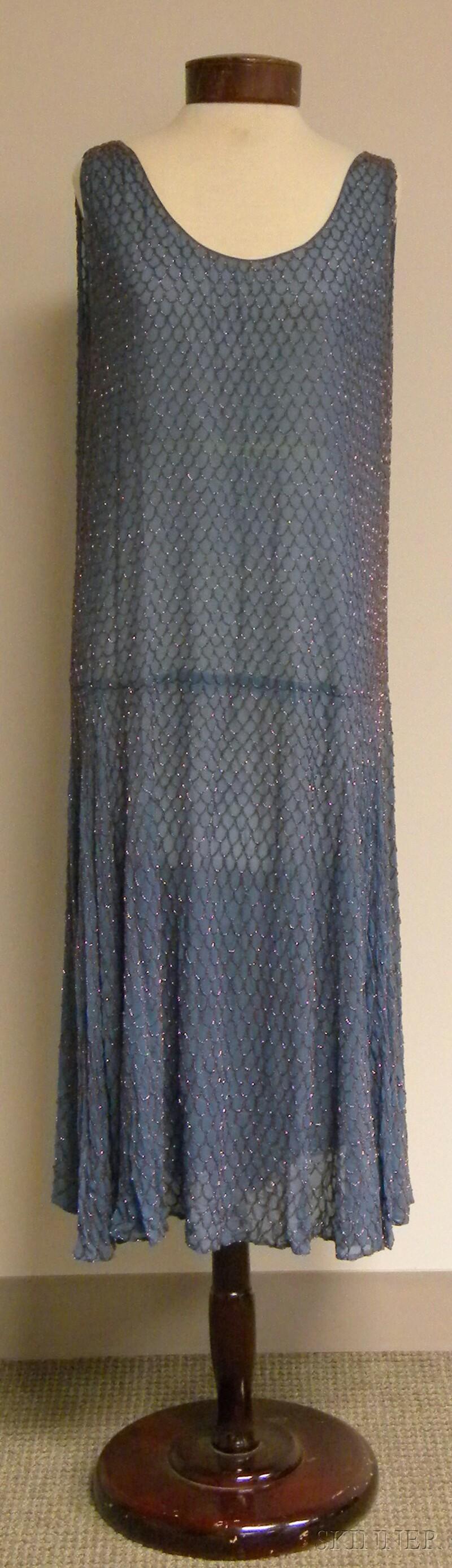 1920s Sky Blue Fish Scale-patterned Beaded Silk Dress