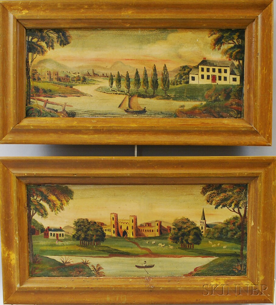 Pair of Framed Overmantel Paintings