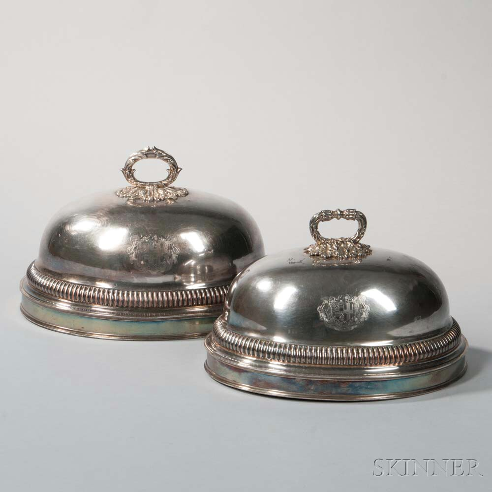 Two George III Silver-plate Meat Domes