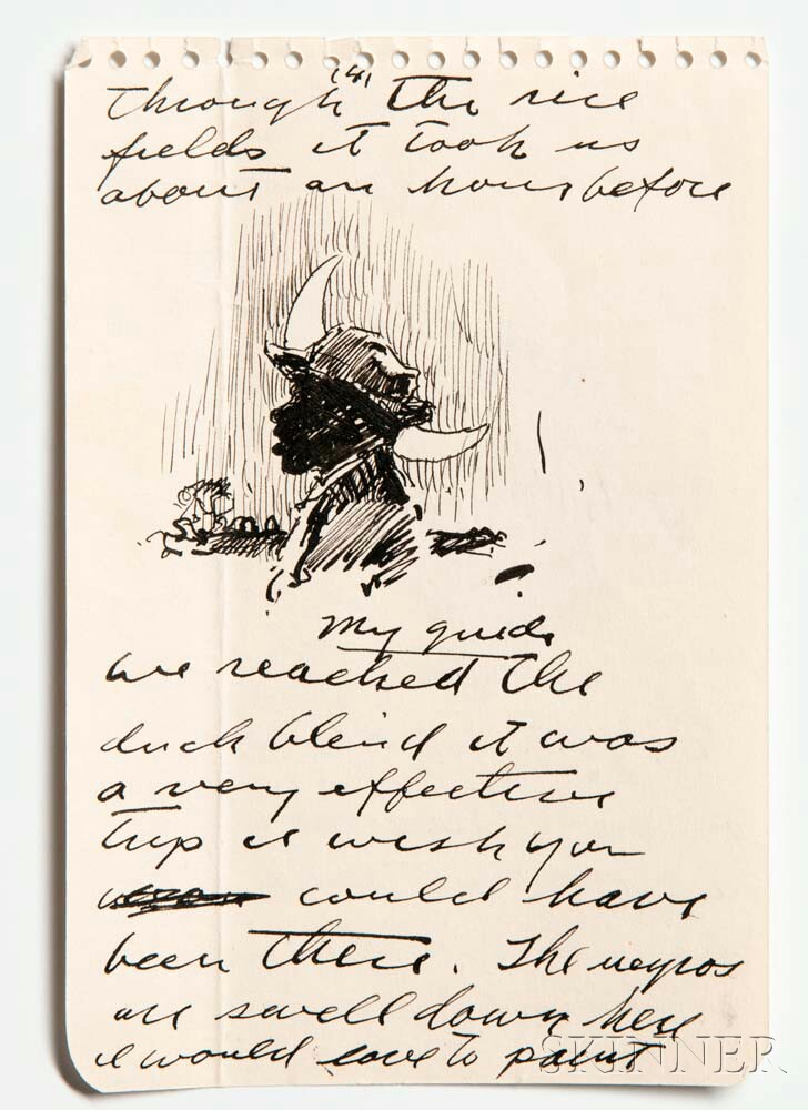 Wyeth, Andrew (1917-2009) Archive of Forty-three Signed Autograph Letters and Notes, with Sketches, Port Clyde, Maine; Chadds Ford, Pen