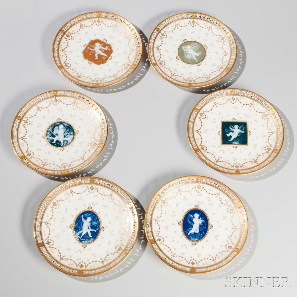 Set of Six Mintons Porcelain Pâte-sur-Pâte Fruit Plates