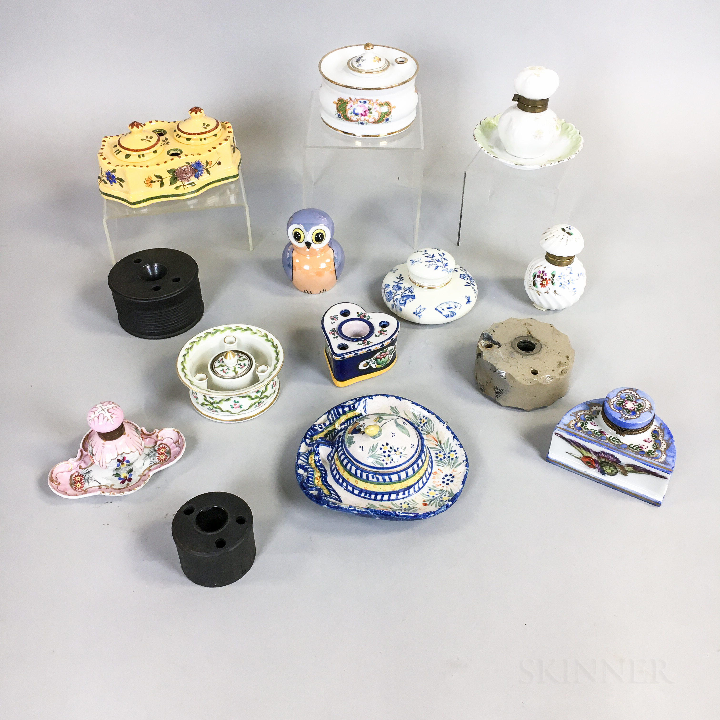 Fourteen Ceramic and Pottery Inkwells