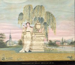 Silkwork and Watercolor Mourning Picture