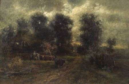 Charles Henry Miller (American, 1842-1922)    Queens Landscape and Cattle