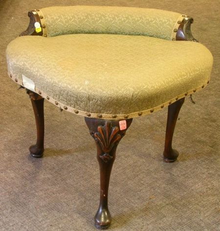Queen Anne Style Upholstered Carved Maple Dressing Table Stool.