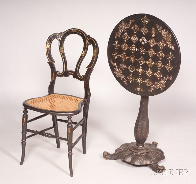 Victorian Gilt-Decorated, Polychrome Painted, and Inlaid Papier Mache Table with Associated Side Chai   r