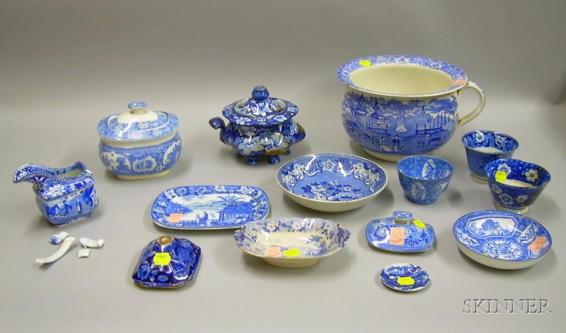 Fourteen Pieces of English Blue and White Transfer Decorated Staffordshire   Tableware